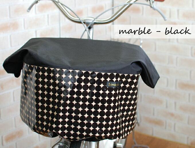 【新着】ワイドサイズ:ブラック×マーブル柄バスケットカバー(自転車前カゴカバー)