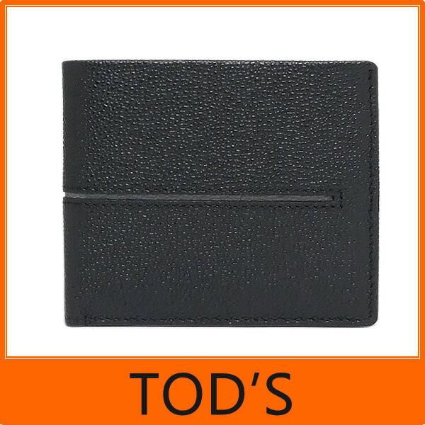 【ギフト ラッピング無料】TOD'S トッズ tods メンズ 二つ折り 財布 Leather wallet 牛革型押し ブラック+グレー TODS XAM ACHBB300 GPA 2Z62 【楽ギフ_包装】【新品 新作 未使用 正規品】
