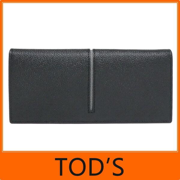 【ギフト ラッピング無料】TOD'S トッズ tods 二つ折り 長財布 Leather wallet 牛革型押し ブラック+グレー TODS XAM ACHB7300 GPA 2Z62 メンズ【楽ギフ_包装】【新品 新作 未使用 正規品】