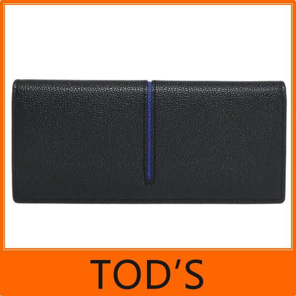 【ギフト ラッピング無料】TOD'S トッズ tods 二つ折り 長財布 Leather wallet 牛革型押し ブラック+ブルー TODS XAM ACHB7300 GPA 4819 メンズ【楽ギフ_包装】【新品 新作 未使用 正規品】