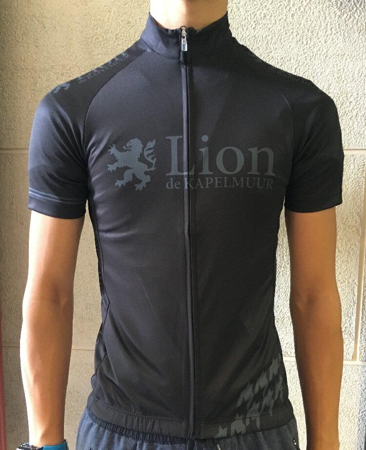 Lion de KAPELMUUR リオン・ド・カペルミュール 半袖ジャージ 千鳥チップ ブラック×グレー【自転車】【ロードバイク】【サイクルウェア】【サイクルジャージ】lihs203