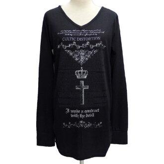 SEXPOT sexual intercourse pot V neck shirring long T-shirt [AMNESIA] SA85950-10102/