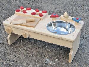 手作り 木製ままごとキッチン RBK-LX・無塗装 ステンレスボールの流し