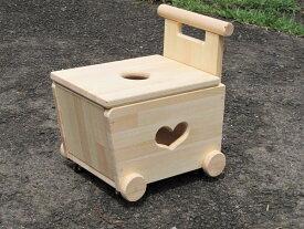 手作り木製 おもちゃも運べて座れる、蓋付手押し車-2型・木製 知育 手作り 積み木 木のおもちゃ カタカタ 車 手押し車 出産祝い お誕生日