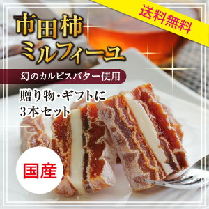 【送料無料】市田柿ミルフィーユ3本セット カルピスバタ...