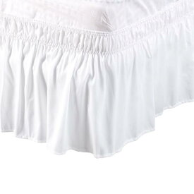 ソウテン uxcell プリーツベッドスカート ベッドスカート ラップランドダストフリル ポリエステル 38cmのドロップ ツインサイズ ホワイト