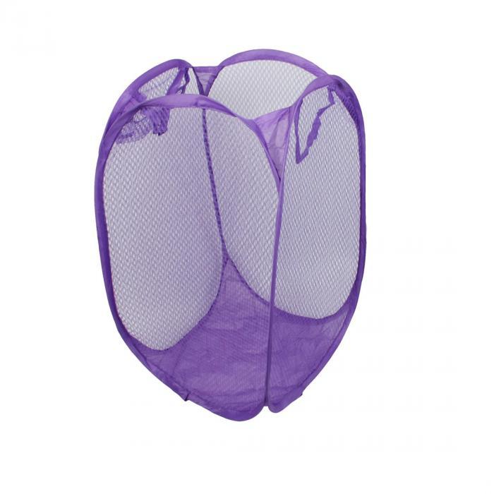 uxcell ランドリー 洗濯物用かご服 メッシュデザイン 折り畳み式 ストレージポップアップ バスケット ブルー