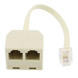 uxcell RJ11電話スプリッター モジュラケーブル RJ116P4Cオスプラグx 6P4Cメス アウトレット 電話回線スプリッタアダプタ