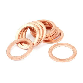 uxcell 銅ワッシャー 18mm x 24mm x 2mm メートル法 リングの形状 銅箔 フラット ワッシャー 10個入