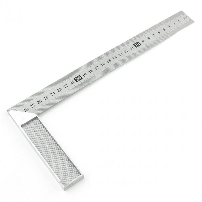 uxcell 送料無料 直角定規 シルバー曲尺 完全スコヤ スクエアルーラー 90度 L形 測定工具 ゲージ ステンレス鋼 30cm