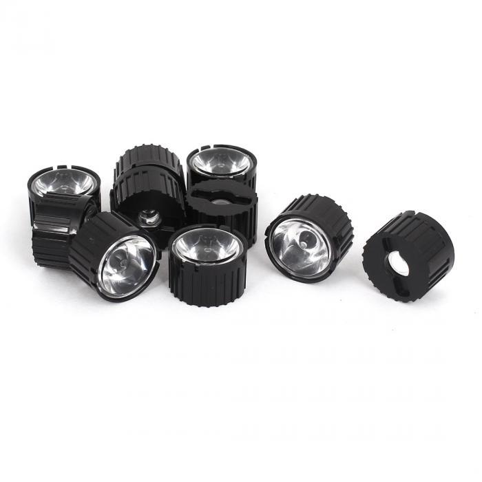 uxcell LED光学レンズ LEDレンズ 8度の視野角 ブラック 10個