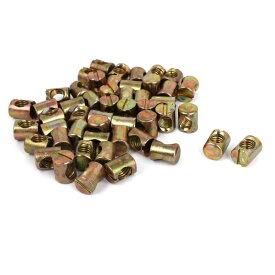 uxcell クロスダボ 家具ナット 家具コネクタ ベッドベビーベッドチェア ボルトクロスダボスロット 50個 M8x12mmx15mm