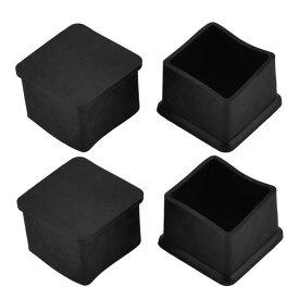 uxcell 家具足 ゴムカバーキャップ テーブル 机 椅子足 ブラック 四角形 35mm x 35mm 4個入り
