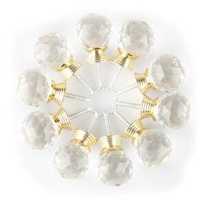 uxcell送料無料つまみ30mmハンドル引き出し取っ手クリスタルガラスキャビネットハンドル家庭装飾キラキラ丸型ゴールドトーン10個セット