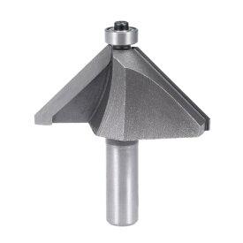 uxcell カッター 面取りルータビット 1/2 シャンク 1-12.7 mm 直径 45度ベアリング付き高炭素鋼