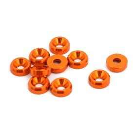 ソウテン uxcell フェンダーワッシャー オレンジ アルミニウム合金 ドレスアップワッシャー 10個入り