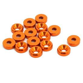 ソウテン uxcell フェンダーワッシャー オレンジ アルミニウム合金 ドレスアップワッシャー 15個入り
