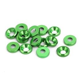 ソウテン uxcell フェンダーワッシャー アルミニウム合金 グリーン M3皿ネジ 凹面ワッシャー 15個入り