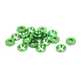 ソウテン uxcell フェンダーワッシャー アルミニウム合金 グリーン クイックリリースファスナー 20個入り