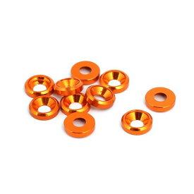 ソウテン uxcell フェンダーワッシャー オレンジ アルミニウム合金 M3皿ネジ 凹面ワッシャー 10個入り