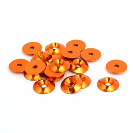 ソウテン uxcell フェンダーワッシャー 皿ボルト用 コーンカップヘッド オレンジ M4 20個入り
