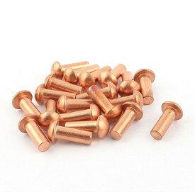uxcell 銅ソリッドリベット フラットヘッド 直径6mm 長さ16mm ストレート 20個