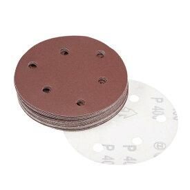 uxcell サンディングディスク 12.7cm 6穴 400グリッツ フロッキング バックサンドペーパー サンダース用 25個入り