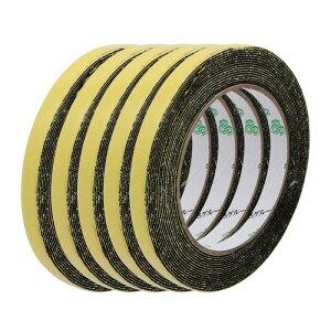 ソウテン スポンジテープ シングルサイドシール防水 厚さ 1mm ワイド10mm 長さ5M ブラック 5個入り