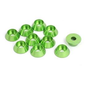 ソウテン uxcell フェンダーワッシャー グリーン アルミニウム合金 外径12mm 凹面ワッシャー 10個入り
