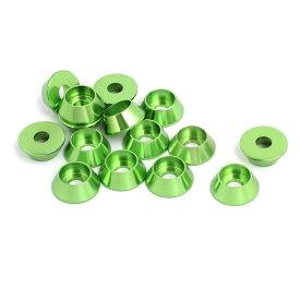 ソウテン uxcell フェンダーワッシャー グリーン アルミニウム合金 外径12mm 凹面ワッシャー 15個入り