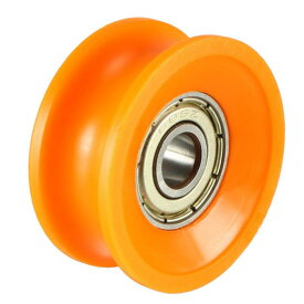 ソウテン uxcell ベアリングプーリー ナイロンベアリングローラー 6x30x13mm 深さ2.5mm オレンジ 2個入り
