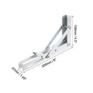 uxcell折りたたみブラケット炭素鋼製ホワイト200mm長さ棚テーブルリリースアーム