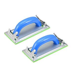 ソウテン サンドペーパーホルダー サンダーブロック ディスクホルダー ハンドツール プラスチックハンドル 18x8.5cm 2個入
