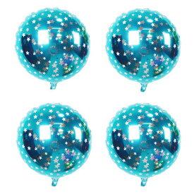 ソウテン バルーン 家庭 誕生日 結婚式 ホイル 星の柄 円形 風船 空 ブルー 45.7cm 4個入り