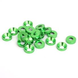 ソウテン uxcell フェンダー バンパー ワッシャー M5 グリーン アルミニウム合金 カップヘッド 20個入り