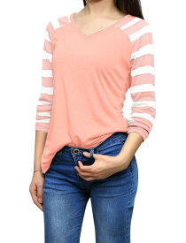 ソウテン Tシャツ Vネック 長袖 ストライプ柄 ラグランtシャツ カジュアル レディース ピンク L