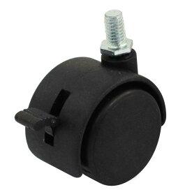 ソウテン キャスター 車輪 ねじ込み式 8mmネジ 40mmツインホイール 360度回転可能 スイベルブレーキキャスター