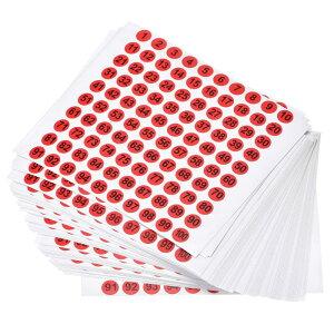 ソウテン ナンバーステッカー ナンバーシール 数字ラベル 10 mm直径 ナンバー1-100 コート紙ラベル 50シート ブラック数字/レッド背景