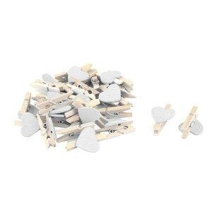 ソウテン uxcell DIYクラフトフォトポストカードペグクリップ 木製ホームパーティー用 ハートシェイプ 30個入り 白い