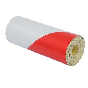 ソウテン 反射警告テープ 片面 ガムテープ 粘着テープ フィルムストリップ 1M長さ 5cm幅 ホワイト レッド