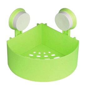 ソウテン uxcell シャワーバスケット 粘着 ウォールマウント プラスチック コーナー シャワー バスケット ラック ビン ストレージ オーガナイザー グリーン 1個入り