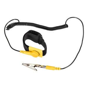 ソウテン 静電気防止用リストストラップ リストバンド 磁気トレイ 接地ワイヤ ワニクリップ イエロー ブラック 3個入り