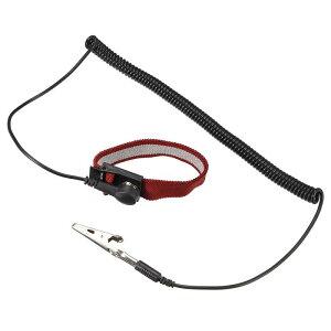 ソウテン 静電気防止用リストストラップ リストバンド 磁気トレイ 接地ワイヤ ワニクリップ レッド ブラック 2個入り