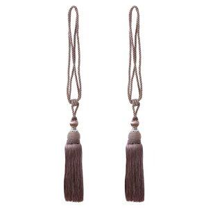 ソウテン カーテンタイバック 73.6 cmカーテンホールドバック ウィンドウタッセルタイバック クリップ 装飾的なロープカーテンホールドバックホルダー 褐色