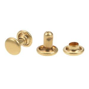 ソウテン レザークラフトリベット 6x6.5mm ダブルキャップリベット 真鍮材質 ゴールドトーン 20セット入り