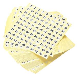 ソウテン 数字ステッカー ナンバーシール 番号ラベル 10 mm直径 ナンバー1-100 コート紙ラベル 100シート ブラック数字/ホワイト背景