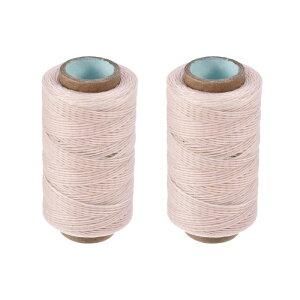 ソウテン レザーミシン糸 273ヤード150D / 1mm ポリエステルワックス糸コード フラットスレッド 手縫い製本クラフトDIY用 (ペールピンク、2個)