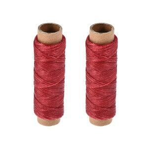 ソウテン レザー用手縫い糸 ポリエステルワックス糸コード 革用糸 フラットスレッド 30M 150D/1mm 手縫いDIY用 チュールレッド 2個入り
