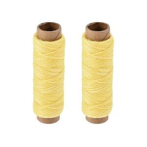 ソウテン レザー用手縫い糸 ポリエステルワックス糸コード 革用糸 フラットスレッド 30M 150D/1mm 手縫いDIY用 レモンイエロー 2個入り