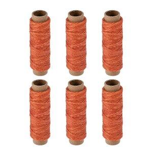 ソウテン レザー用手縫い糸 ポリエステルワックス糸コード 革用糸 フラットスレッド 30M 150D/1mm 手縫いDIY用 オレンジ 6個入り